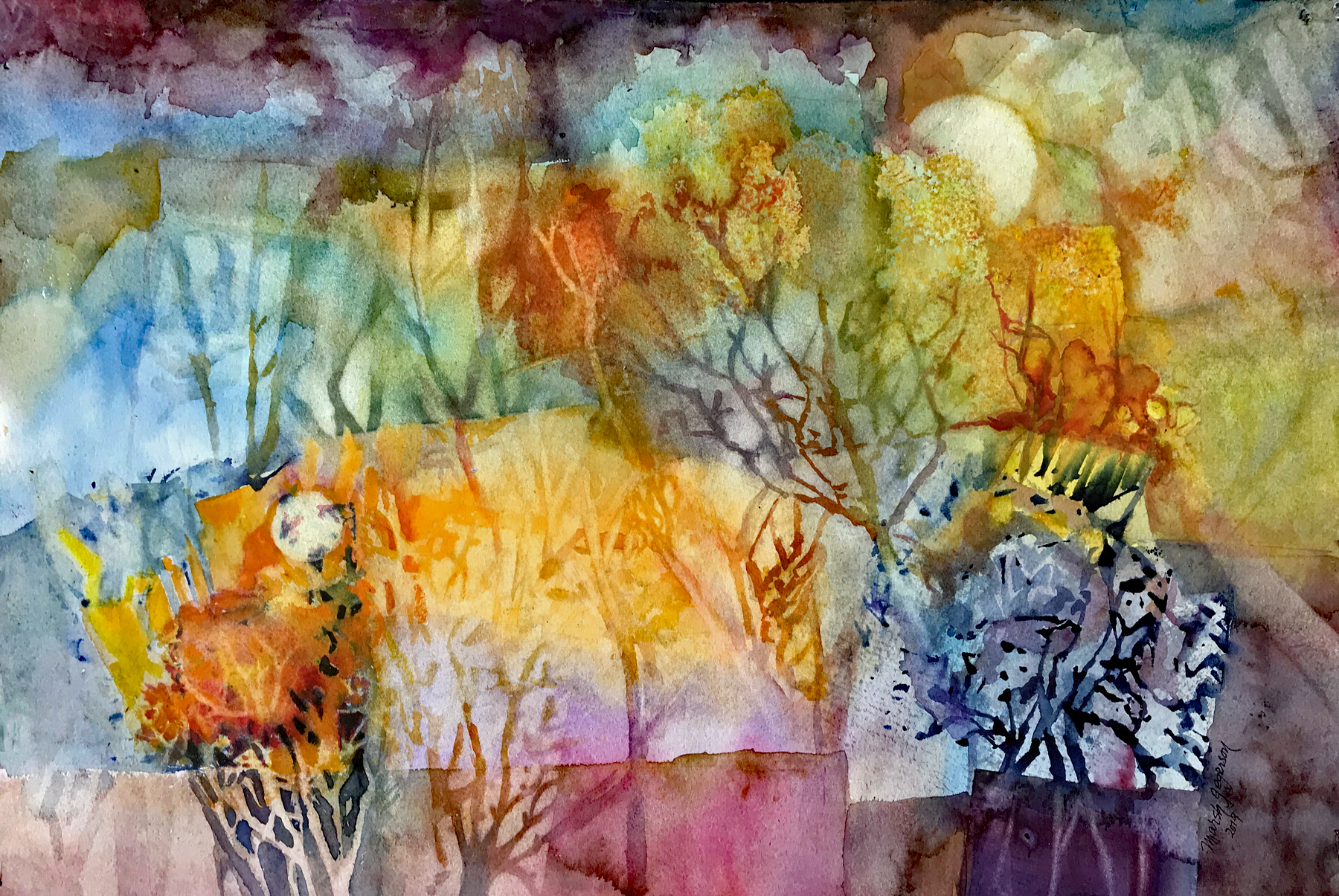 Watercolor, Mist, soft trees,  rainbow colors and a fading moon