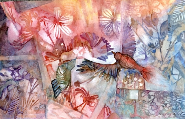 Watercolor, flowers,birds,leaves abstract elements.