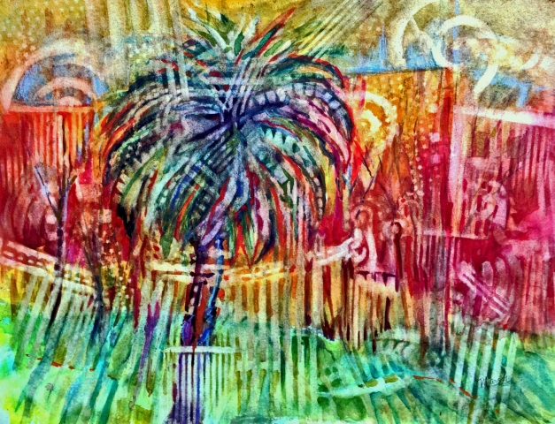 Tropical, pattern, palm tree, red, green, blue, abstract